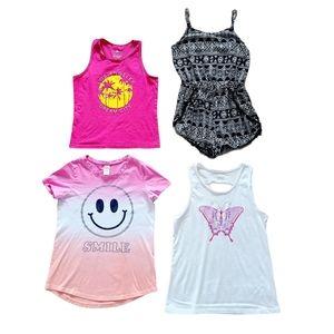 Lot of Girl's Tank Tops, Romper & T-Shirt sz 10-12